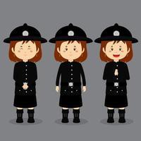 personagem britânico com várias expressões vetor