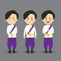 personagem do Camboja com várias expressões vetor