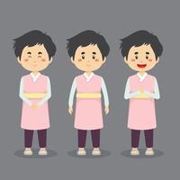 personagem da Coreia do Sul com várias expressões vetor