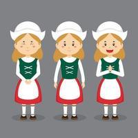 personagem da alemanha com várias expressões vetor
