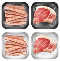 Um conjunto de bacon e carne vetor
