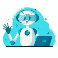 robô personagem de chat sorridente vetor