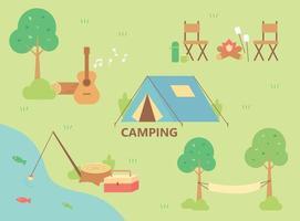 acampamento no rio. vidas de acampamento são organizadas ao redor da tenda. vetor