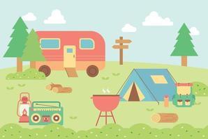 acampamento na natureza. vetor