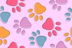 Fofo rosa sem costura de fundo com patas coloridas de animais de estimação vetor