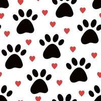 cão ou gato pata de fundo vector sem costura com corações.