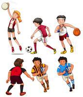 Pessoas, fazendo, diferente, esportes vetor
