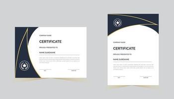 modelo de prêmio de certificado de agradecimento criativo com cor azul vetor