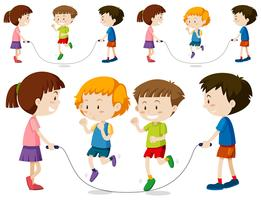 Um conjunto de salto de corda de criança vetor