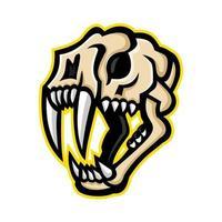 mascote do crânio de gato dente-de-sabre vetor