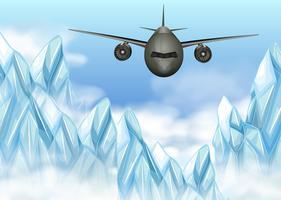 Avião voando sobre montanhas de gelo vetor