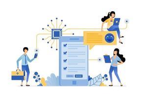 pessoas preenchendo pesquisas com aplicativos móveis interconectados com chip vetor