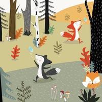 raposa bonita nos desenhos animados da floresta. vetor