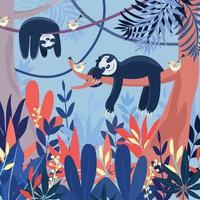 linda preguiça azul dormindo em desenho animado de grande floresta. vetor
