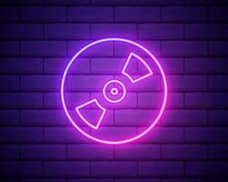 ícone de disco de cd ou dvd linha neon isolado no fundo da parede de tijolo. vetor