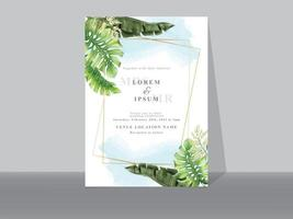 cartões de convite de casamento com folhas verdes tropicais vetor