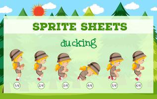 Modelo de ducking de folhas de Sprite vetor