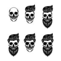 conjunto de crânios hipster com cabelo vetor