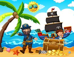 Um pirata e uma garota feliz na ilha vetor