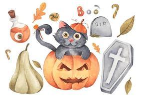 coleção feliz do dia das bruxas. ilustração em aquarela. vetor