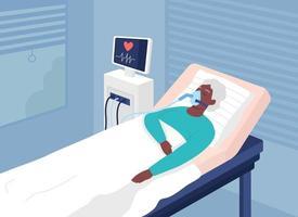 paciente com condição de risco de vida ilustração vetorial de cor plana vetor