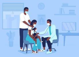 trazendo criança para consulta hospitalar ilustração vetorial de cor plana vetor