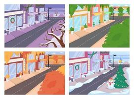 rua da cidade com conjunto de ilustrações vetoriais em cores planas de diferentes estações vetor