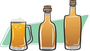 rum tequila e cerveja. bebidas em garrafas vetor
