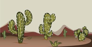 cena do deserto do oeste selvagem do texas com cactos vetor