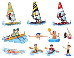 Diferentes tipos de esportes aquáticos vetor