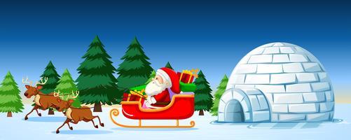 Papai Noel na cena do trenó vetor