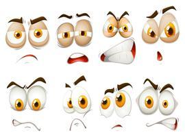 Diferentes emoções de expressão facial vetor