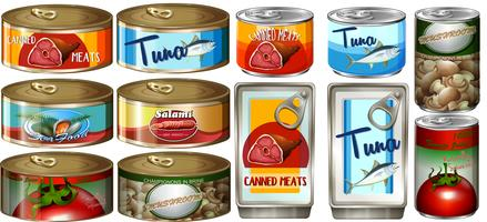 Comida diferente em latas de alumínio vetor