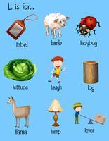 Palavras diferentes começam com letra L vetor