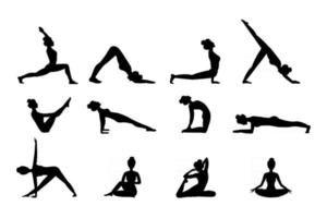 silhueta de mulheres praticando ioga. ilustração vetorial vetor