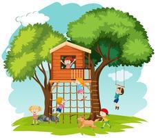 Crianças, tocando, em, casa árvore vetor