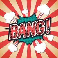 bang, bolha do discurso de explosão em quadrinhos. texto estrondoso. ilustração vetorial vetor
