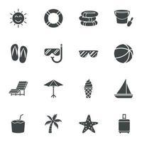 ícones pretos de verão. ilustração vetorial vetor