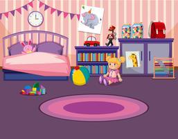 Interior do quarto das meninas vetor