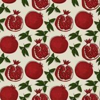 padrão sem emenda com fruta da romã estilo de desenho desenhado na mão. vetor