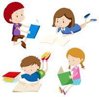 Um conjunto de crianças lendo livro vetor