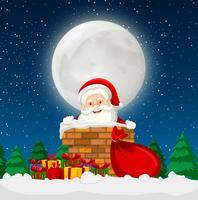 Papai Noel em uma cena de chaminé vetor