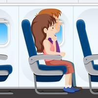 Passageiro no banco do avião vetor