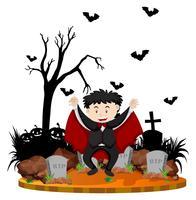 Cena do cemitério com vampiro e morcegos vetor