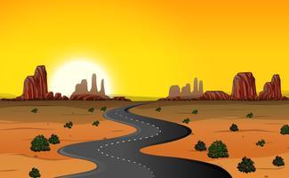 Um, deserto, estrada, fundo vetor