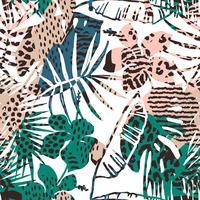 Na moda sem costura padrão exótico com palm, animal imprime e mão desenhada texturas. vetor