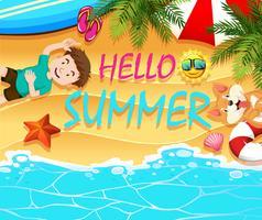 Tema de verão com menino e cachorro na praia vetor