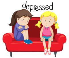 Duas garotas é deprimente vetor