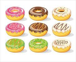 coleção de conjunto de vetores de rosquinhas doces, ilustração vetorial