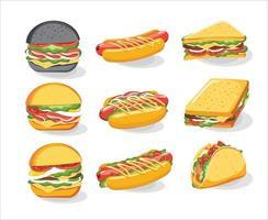 sanduíche pão hambúrguer, cheeseburger, ilustração vetorial vetor